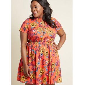 ModCloth orange floral shirt dress Size 1X